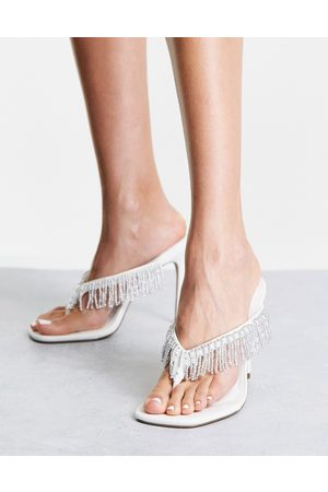 ASOS Notation beaded toe thong heeled sandals in white