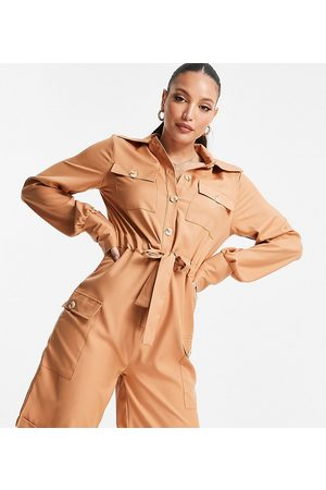 Unique21 Tall Utility playsuit in camel-Neutral