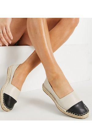 ASOS Wide Fit Joy toe-cap espadrilles in cream and black-White