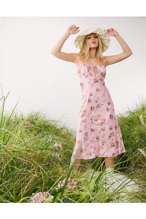 ASOS Dame Bodycon kjoler - Floral satin bias cut midi slip dress with ruched bust detail-Green