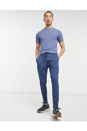 ASOS Smart co-ord super skinny joggers in waffle with fixed hem-Blue