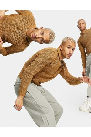 ASOS Oversized tapered smart trouser with inverted pleat detail-Neutral