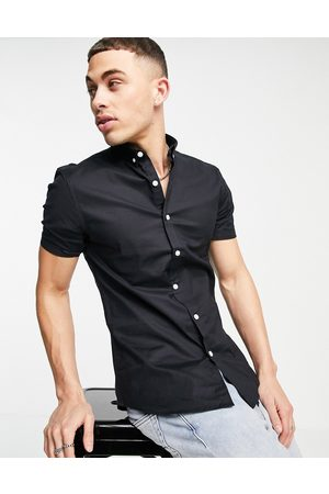 New Look Short sleeve muscle fit oxford in black