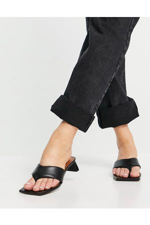 ASOS Hydra premium leather toe thong heeled sandals in black