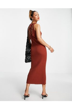 ASOS Knitted midi dress with lace up back detail in brown