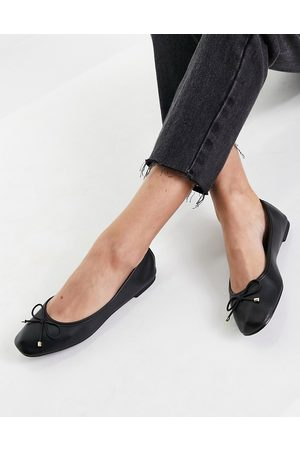 Schuh Libet square toe ballet flat shoes in black