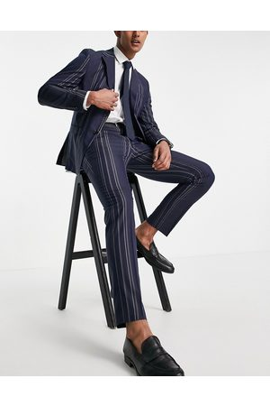SELECTED Slim fit suit trousers in navy and white stripes-Multi