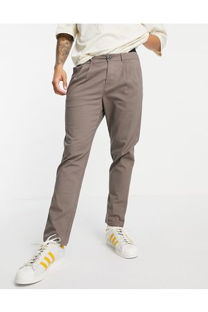 ASOS Cigarette chinos with pleats brown