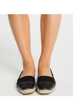 ASOS Wide Fit Joy toe-cap espadrilles in black