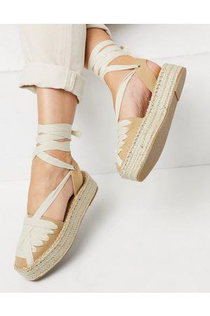 ASOS Junior flatform espadrilles with ankle tie in tan/cream-Neutral