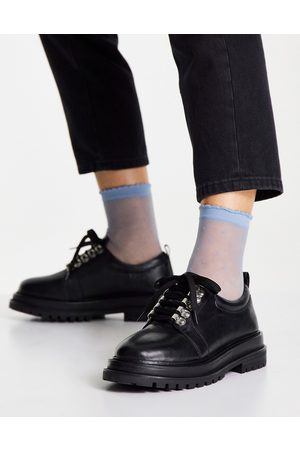ASOS Marine leather hiker flat shoes in black