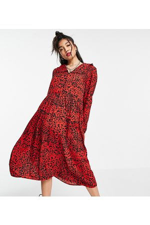 Wednesday's Girl Midi smock dress with collar in bright animal print-Red