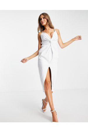 ASOS Twist detail strappy midi dress in white