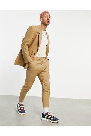 ASOS Tapered suit trousers in tobacco linen mix-Brown