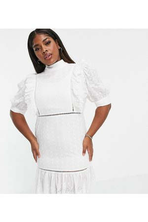 Collective the Label Curve Puff sleeve cutwork lace mini dress in white