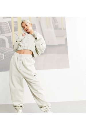 COLLUSION Popper front joggers in stone co-ord-Neutral