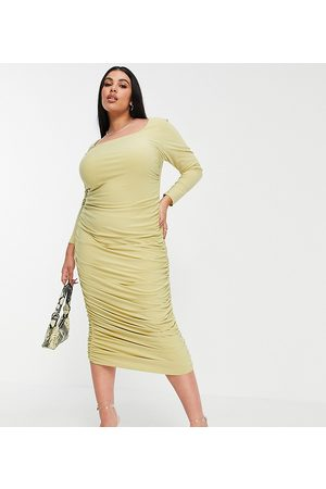 Club L London Plus Ruched long sleeve open back midi dress in sage-Green