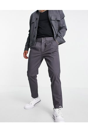 ASOS Cigarette chinos with pleats in charcoal-Grey