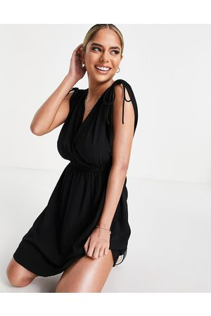 ASOS Fuller bust recycled gathered detail mini beach dress in black