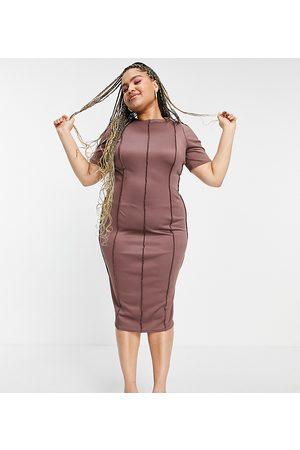 ASOS ASOS DESIGN Curve midi dress with contoured exposed seams-Brown