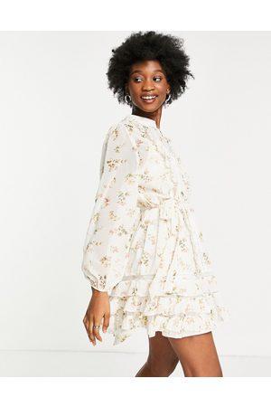 Forever U Floral sheer mini dress in white floral print
