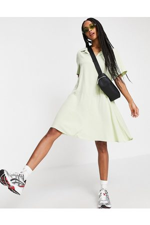 Weekday Millie smock mini dress in sage green