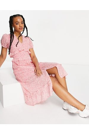 Influence Ruffle front midi dress in floral print-Pink
