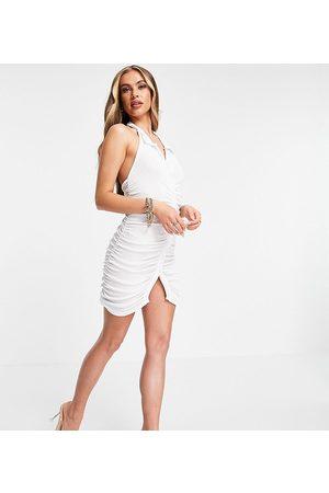 AsYou Halter shirt mini dress in white
