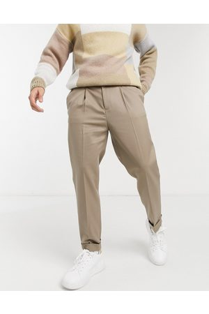 ASOS Tapered smart trouser with turn up in camel twill-Neutral