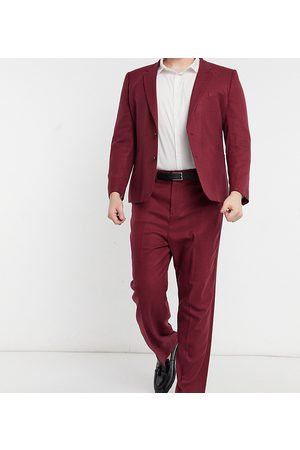 ASOS Herre Chinos - Plus wide leg suit trousers in burgundy twill-Red
