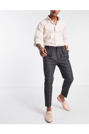 ASOS Tapered smart trousers in wool mix check-Grey