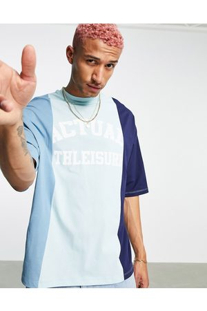 ASOS Co-ord oversized t-shirt with colourblock cut and sew detailing and logo print in blue