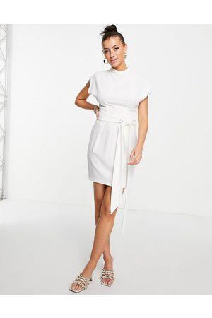 Closet Belted tie waist mini dress in ivory-White