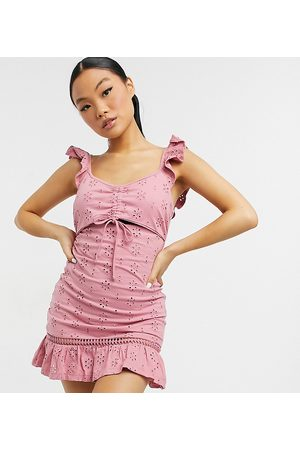ASOS ASOS DESIGN Petite broderie mini sundress with cut out and frill straps in blush-Pink