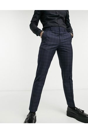 Burton Slim fit checked trousers in navy