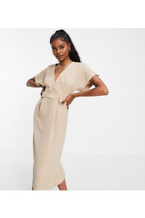 ASOS ASOS DESIGN Tall wrap front midi dress with elasticated tabs in camel-Multi