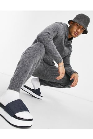 ASOS Knitted co-ord soft yarn joggers in charcoal-Neutral