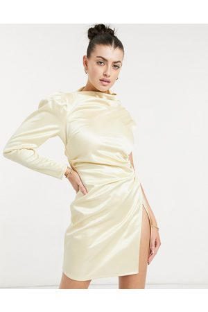 ASOS One shoulder tuck wrap mini dress in champagne gold
