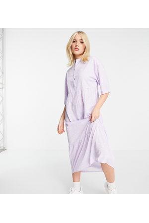 Wednesday's Girl Relaxed midi smock dress with peplum hem in spot print-Purple