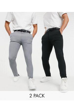 ASOS Super skinny smart trouser multipack in black & grey