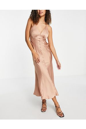 ASOS Satin button through midi slip dress in Bronze-Brown