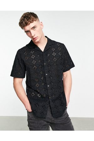 ASOS Relaxed broiderie shirt with revere collar in black