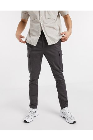 ASOS Skinny cargo trousers in washed black