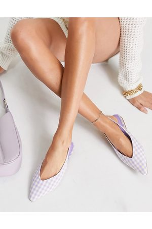 ASOS Lacy slingback ballet flats in lilac gingham-Purple