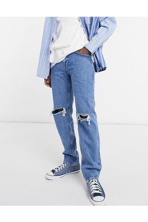 ASOS Original fit jeans in mid wash with knee rips-Blue