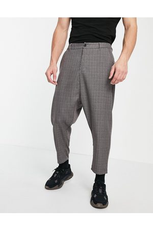 ASOS Drop crotch cargo micro check trousers in grey-Brown
