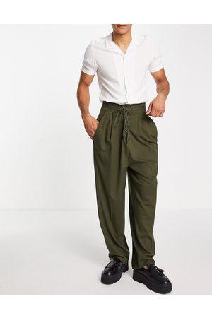 ASOS Herre Chinos - Twisted balloon smart trouser in khaki-Green