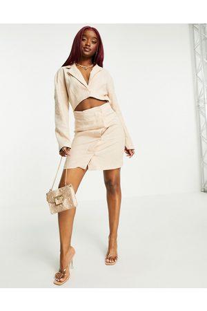 ASOS Linen cut out mini tux dress in stone-White