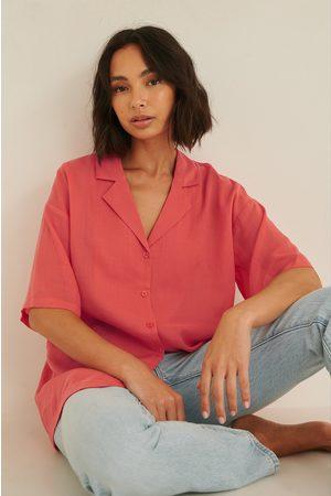 NA-KD Dame Bluser - Kortermet Skjorte I Lin