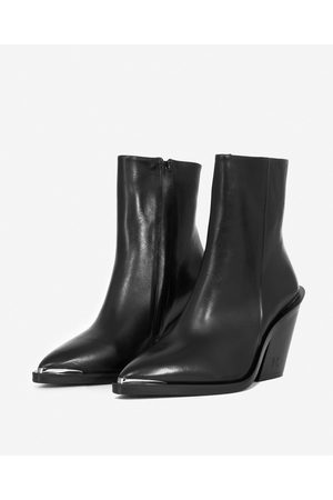 The Kooples Cowboy-style heeled black ankle boots